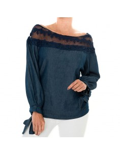 Blusa manga larga en chambray